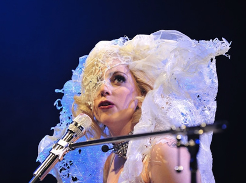 GAGA IN CUSTOM SPIDERWEB HEADPIECE