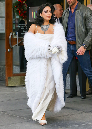 Lady Gaga wearing JACQUE; white fox leather gloves