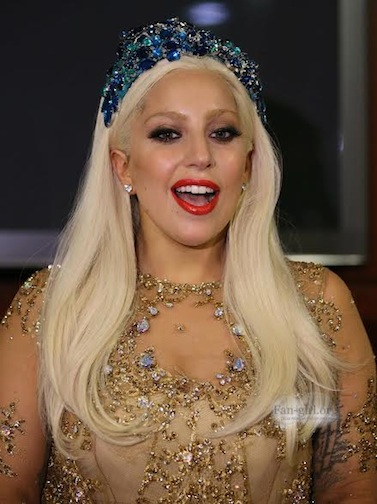 Lady Gaga wearing a custom headpiece during the Art Rave tour in Dubai