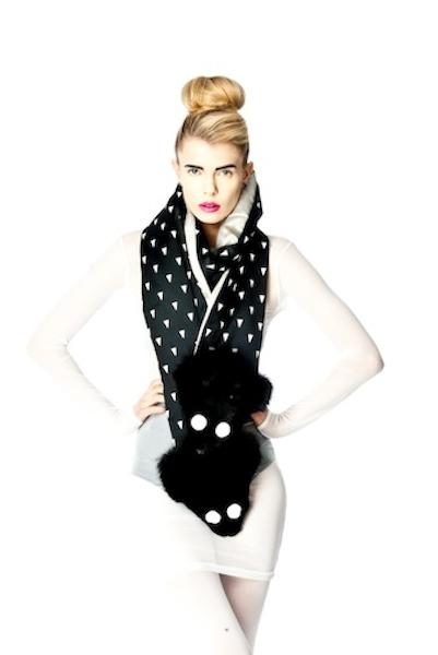 CASEY - satin + fox face scarf