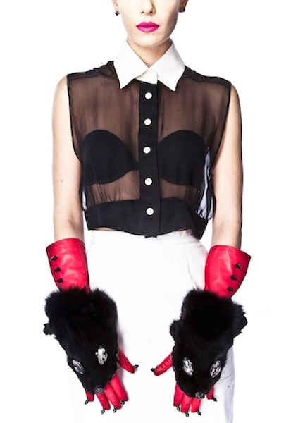STEPHANIE - hot pink fox face gloves