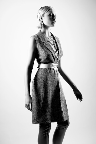 Model wearing Pawn necklace and Stellar Plates belt.  Styled by Karyn Hunt